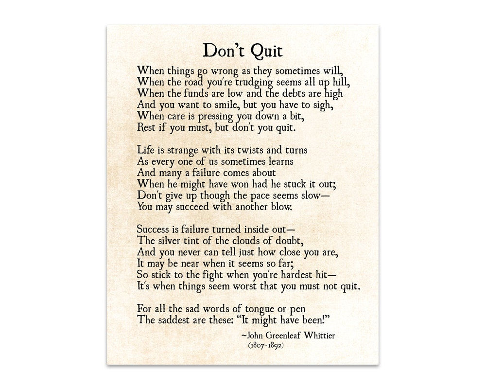 Don T Quit Poem John Greenleaf Whittier Quote Graduation