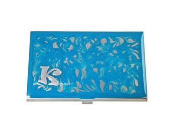 Monogram Business Card Case Inlaid in Hand Painted Enamel in Turquoise Swirl Design with Customized and Personalized Options