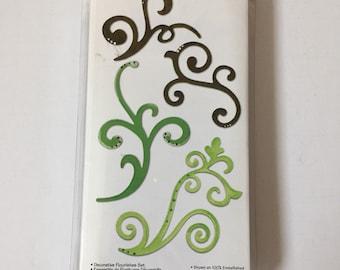 New Sizzix #656538 Sizzlits Die Set 5 PC Decorative Flourishes