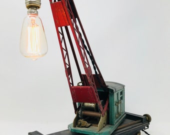 1930's Lionel crane side table lamp