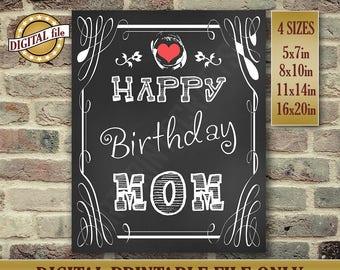 Happy Birthday Mom, Birthday Sign for Mom, Mom's Birthday Present, Mom Resume Wall Art Gift, Instant Printable DIGITAL FILE JPG