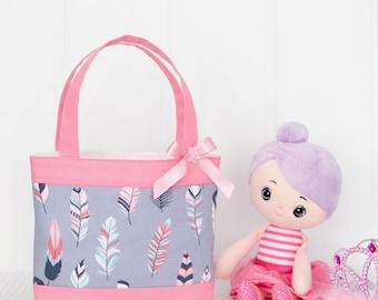 Little Girls Bag / Mini Tote Bag / Girls Bag / Kids Bag / Girls Purse - Grey and Pink Feathers
