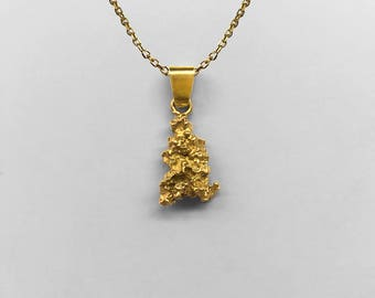 Vintage gold nugget pendant etsy 24k solid gold nugget pendantcharm as found in nature with an 18k yellow gold mozeypictures Image collections