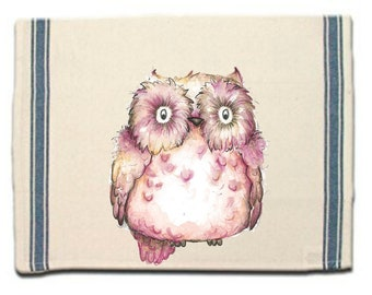 Baby Pink Owl Kitchen Towel,Whimsical Dish Towel,Owl Tea Towel,Dish Cloth, Gift for Her,Owl Gift, Gift for Owl Lover