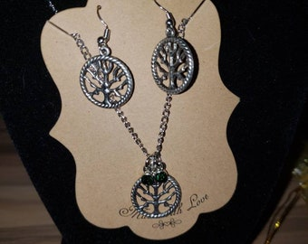 Tree of life earring and necklace set
