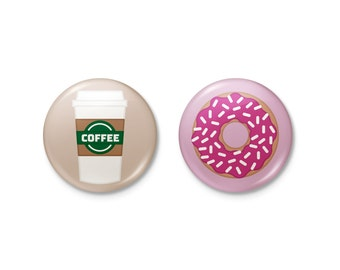 Magnets | Coffee & Donuts Magnet Badge Button Set | coffee donut starbucks
