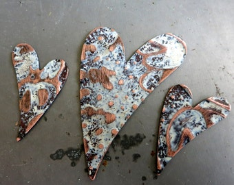 Embossed Copper Funky Heart Pendant & Earring Charms, Cookies n Cream Patina, Handcrafted Components