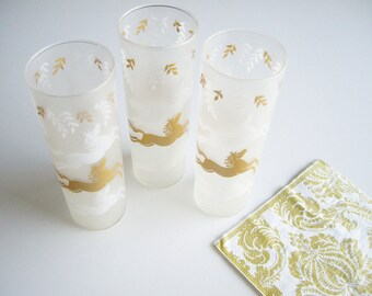 Vintage, Horse glasses, Frosted, Tall Glass, Vintage Barware, White & Gold, Leaves, Libbey, Cavalcade, Set of 3, Mid Century, 50s