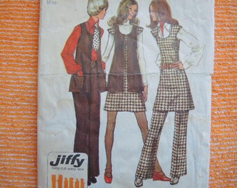 vintage 1970s Simplicity sewing pattern 5192 misses jiffy mini jumper or tunic vest and pants size 14
