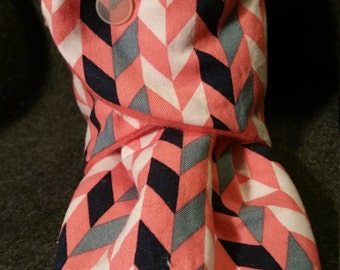 5.5 inch fit,  cotton chevron lined with fleece,  fleece booties, fleece slippers