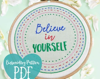 PDF Embroidery. Modern Beginner Embroidery Hoop Art. Hand Embroidery Sampler PDF. Modern Embroidery Pattern. Easy Embroidery Kit. Believe