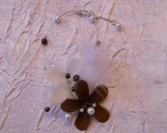 No. 373) white and chocolate flower wedding Bracelet