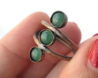 Dual Band Copper and Aventurine Bohemian Ring - Stacking Green Crystal Ring - Healing Stone Jewelry