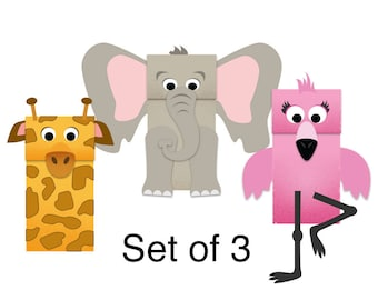Zoo Animals Paper Bag Puppets - Downloadable Kid's Craft - Set of 3