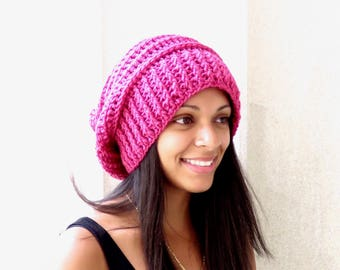Crochet Slouchy Hat, Oversize Hat, Tam Hat, Hippie Hat, Color is Raspberry, Hot Pink,