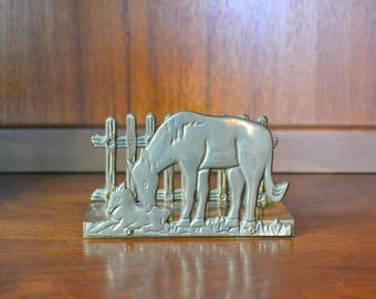 vintage brass mare and foal napkin holder / brass horse napkin holder / equestrian decor