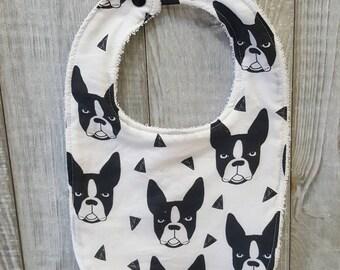 Highly absorbent 100% cotton - Boston Terrier bib