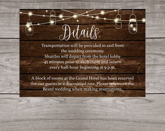 Rustic Wedding Details Insert Cards Printed and Shipped to You - Country Rustic Wedding - Affordable Inserts - Wedding-103