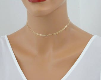 Double Chain Choker Necklace, Dainty Choker Necklace, Bohemian Choker Necklace, Gold fill Tattoo Necklace in Sterling Silver or Gold Filled