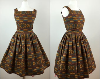 Betty Barclay Dress - Vintage 1950s Dress - Abstract Cotton 50s Swing Dress - Party Dress - Rockabilly Pinup - UK6 US2 EU34 - x Small XS -