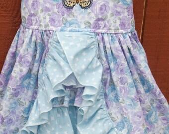 Sun dress - Lavender / blue floral (2T)