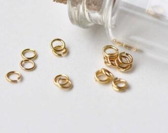 300 pcs Anti Tarnish 24K Gold Plated Brass Small Jump Rings 3mm 25gauge A8601