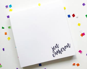 Square Personalized Notepad with Contemporary Script In The Corner