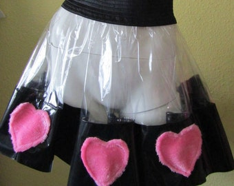 Transparent PVC Skirt & Fluffy Love Hearts Unisex XXXL