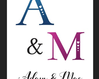 Couples Name and Initials Art Print