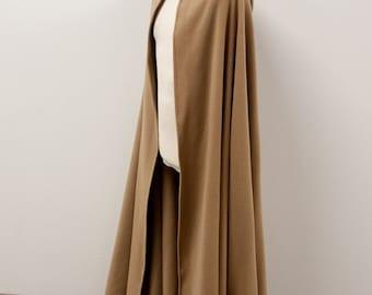 Warm wool half-circle Hobbit Cloak in beige - larp cosplay fantasy elf viking game of thrones winter costume - ready to ship!