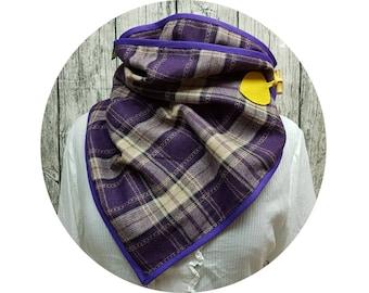 Wrap scarf, button scarf, xxl cloth, winter scarf, winter towel, winter, autumn, scarf, cloth, checkered, diamonds, purple, black, wool, wrapped