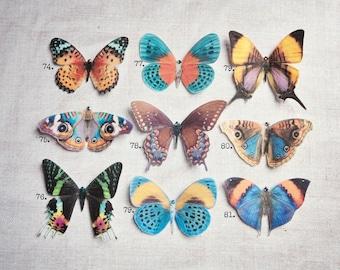 Pretty Silk Butterfly Hair Clips - Hand cut from Silk -Swarovski - Crystals - Multi Colours