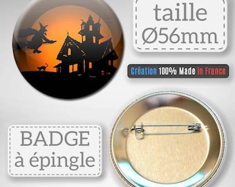 Halloween witch haunted house gift decor badge party 56 mm