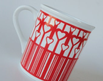 1 Vintage 80s White Milk Glass Mug - RED HEART LOVE - Mother's Day, Romantic Gift, Ceramic Coffee Cup Tea Mug Anniversary Gift, Hearts Mug