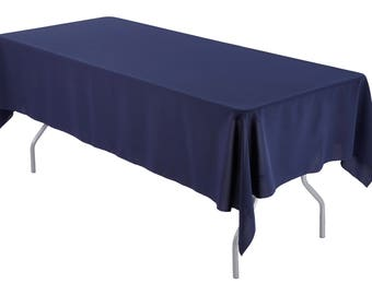 60 x 126 inch Rectangular Navy Tablecloth Polyester | Wedding Tablecloth
