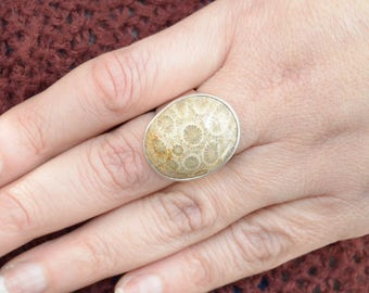 Wide Band Fossilized Coral Ring // Coral Jewelry // Fossil Jewelry // Sterling Silver // Village Silversmith