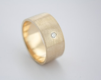 10k gold brushed ring with canadian diamond / diamond ring / brushed ring / brushed ring with diamond / men ring / gold band with diamond /