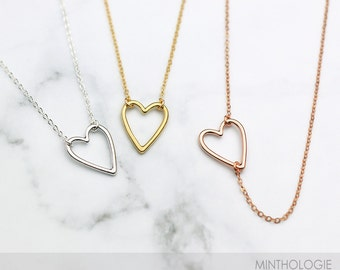 Open Heart Necklace N13 • Dainty Choker Necklace, Delicate, Simple Necklace, Gold, Silver, Rose Gold Necklace, Side Heart