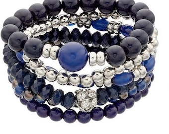 Navy beaded bracelet set!