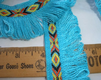 "Boho Tribal Ribbon Fringe trim 1.5"" wide Turquoise blue loop fringe black orange yellow pattern retro yards craft costume cotton blend"