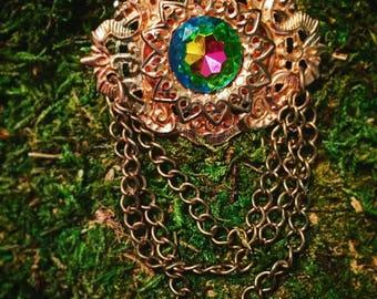 Iridescent jewel necklace/brooch
