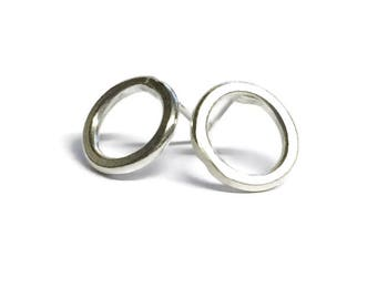 Smooth Finish Ring Stud Earrings