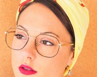 Vintage Eyeglass Frames 1990s Glasses Semi Square shaped New Old Stock Gold Toned With Tortoiseshell Enamel Made In Korea