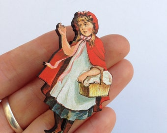 Little Red Riding Hood holding a Basket in her Cloak Wooden brooch pin Birthday Christmas Holiday Gift Childrens Stories