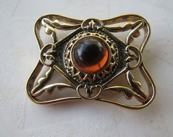 Art Noveau Revival Gold Plated Amber Glass Brooch