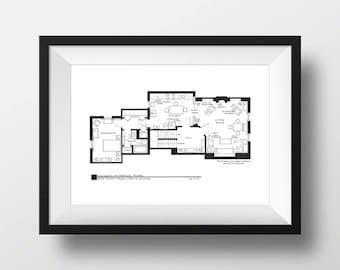 Sherlock Holmes - 221b Baker Street London - TV Show Apartment Floorplan - Blackline Art Poster - NBC Today Show Featured Artist!