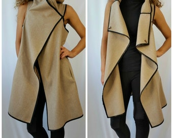 High Collar Coat / Asymmetrical Vest with Pockets /Wool Sleeveless Vest/ Black Edging Vest/Poncho / EXPRESS SHIPPING / MD 10124