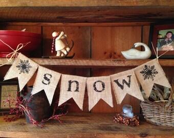 Snow Banner, Winter Bunting, Holiday Garland, Christmas Bunting, Burlap Bunting, Winter Banner, Christmas Banner