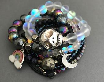 Galaxy Bracelet pile, pile Bracelet coeur, Lisa Frank bijoux, bijoux Galaxy, Galaxy Bracelets, 90 s bijoux