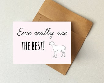 Ewe really are the best card, sheep card, friendship card, valentines day card, punny card, boyfriend card, girlfriend card, BFF card